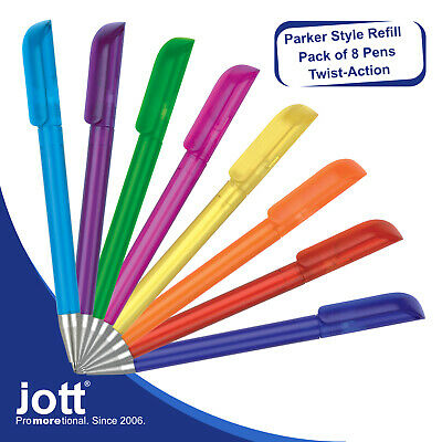 Biro ballpoint pens - Pack of 8 Frosted Pens - Fitted with Parker Style Refills