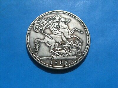 1895 Queen Victoria Crown  George and dragon Silver Plated restrike Novelty Coin