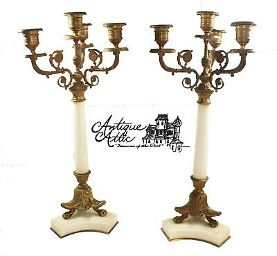 Pair of Antique Neoclassical Candelabras White Marble Gilt Bronze Candle Set