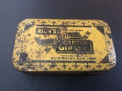 1 Vintage Antique Rich's Crystallized Canton Hinged Ginger Tin 3 Oz.