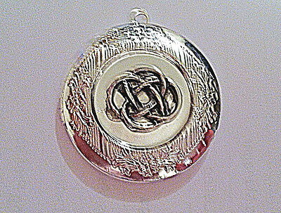 """IRISH Lovers KNOT PHOTO LOCKET silver on sterling 18"""" chain necklace, celtic"""