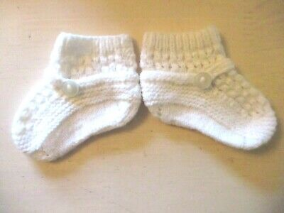 Vintage Baby Bootees -  White Hand Knitted  - Acrylic - sweet design 0-3 mths
