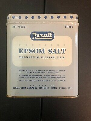 1 Rare Vintage Antique 16 Oz Puretest Rexall Epsom Salt Tin (No Lid)