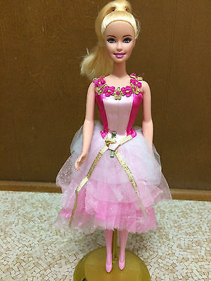 Ballerina Barbie Doll Pink Flower Ballet Dress Shoes Blonde Pony Tail Hair