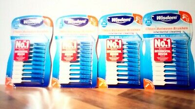 Wisdom Blue Interdental Brushes. 4 Packs Each Containing 20 Brushes.