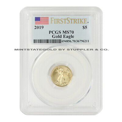 2019 $5 American Gold Eagle PCGS MS70 First Strike 1/10 oz 22KT coin Flag Label