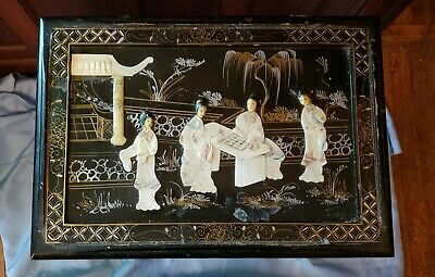 Vintage Oriental Mother Of Pearl Asian Nesting Table Black Lacquer