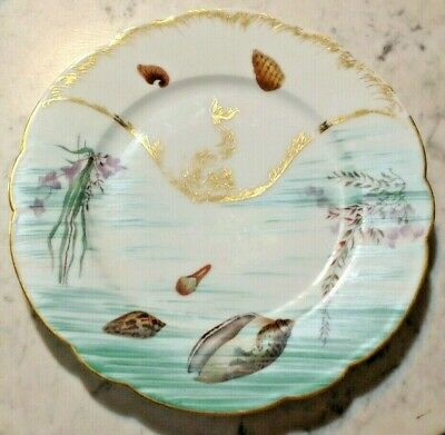 Five Antique Art Nouveau Porcelain Plates with Hand-Painted Shell & Seaweed
