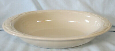 """Longaberger Woven Traditions Pottery Ivory Oval Serving Bowl 11"""""""