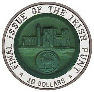 Edelsteinreliefmünze - Final Issue Of The Irish Punt - 10 Dollars 2002 Pp Argent