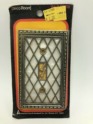 Vtg American Tack & Hardware Switchplate Pearl Antique Brass Wall Light Switch