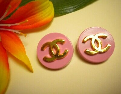 Vintage Pink And Gold Metal Chanel Cc Buttons Matching Pair 3/4""