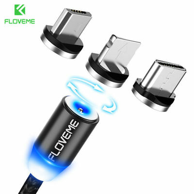 FLOVEME Braided Magnetic Lightning+USB Charger Charging Cable For iPhone Type-c