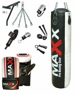 NEW MAXX Up To 5FT Filled Heavy Punch Bag Buyer Build Set,Chains,Bracket,Gloves