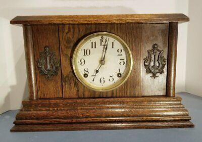 Antique Mission Style Mantel Clock Oak 8 Day Ingraham cathedral Gong Bell Works