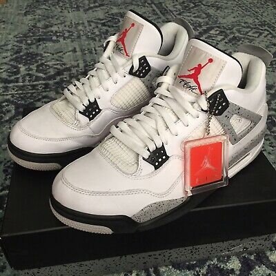 NIKE AIR JORDAN 4 Retro OG White Cement Tech Grey Fire Red 840606 192 US Mens 12