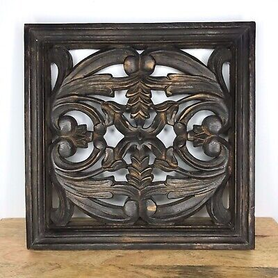 Rustic Carved Wood Square Panel Wall Art Dark Brown 12x12