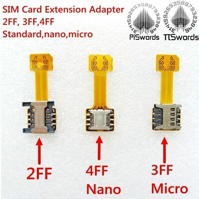 Double Dual SIM Card extension adapter converter cable to 4FF Nano 3FF micro 2FF