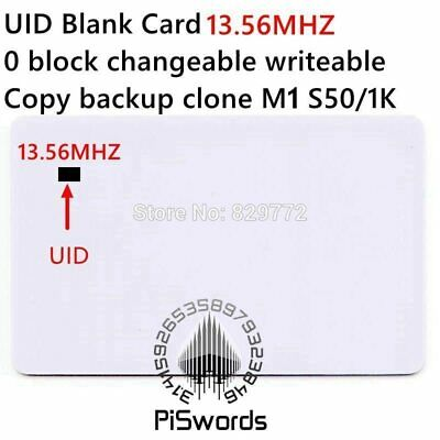 UID rewrite changeable nfc card with block0 mutable writeable for s50 13.56Mhz