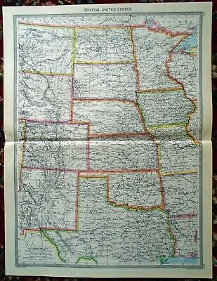 LARGE Antique MAP ~ CENTRAL UNITED STATES ~ HARMSWORTH c1900