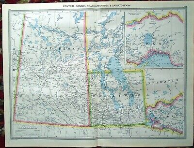 LARGE Antique MAP ~ CENTRAL CANADA Canadian ~ HARMSWORTH c1900
