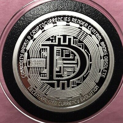 Blockchain Peer To Peer Crypto Proof Coin 1 Troy Oz .999 Fine Silver Round