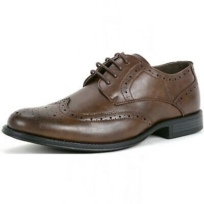 Alpine Swiss Mens Wing Tip Dress Shoes Oxfords Brown Size 10