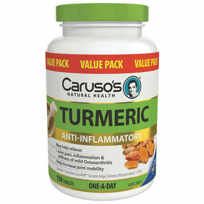 Caruso's Turmeric 150 Tablets Value Pack Anti-Inflammatory Joint Pain Carusos