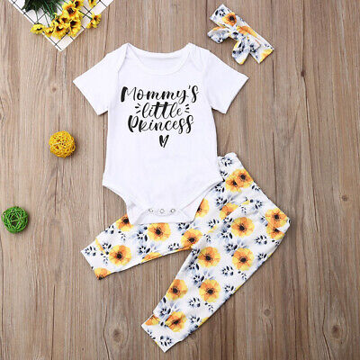Cute Newborn Infant Baby Girl Clothes Short Sleeve Romper Dasiy Leggings Outfit