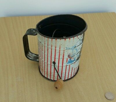 Vintage Hand Winding Flour Sifter Shaker Rare Kitchenalia Item Collectable Retro