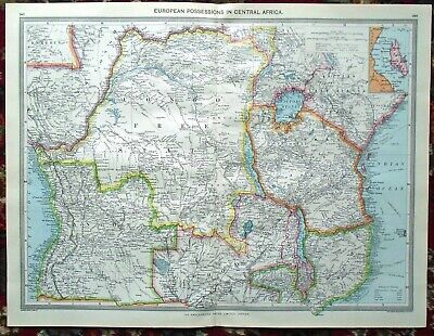 LARGE Antique MAP ~ EUROPEAN POSSESSIONS in CENTRAL AFRICA~ HARMSWORTH c1900