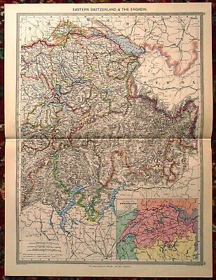 LARGE Antique MAP ~ EASTERN SWITZERLAND and THE ENGADIN ~ HARMSWORTH c1900