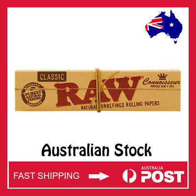 RAW Classic Connoisseur King Size Slim Rolling Papers w/Tips (AUSTRALIAN STOCK)
