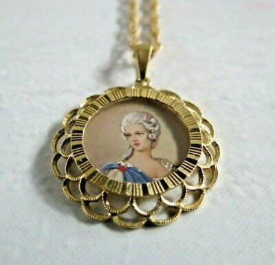 Aurafin 4 14K Yellow Gold chain 18k Hand Painted vintage cameo pendant 5g Italy
