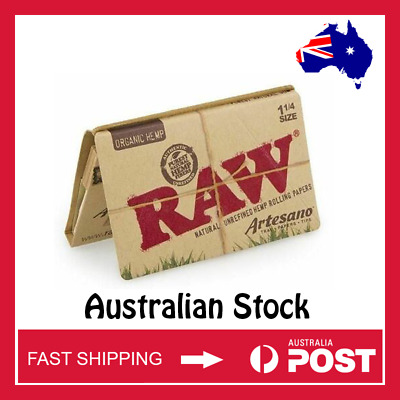 RAW Organic Hemp Artesano 1 1/4 Width Rolling Papers w/ Tips (AUSTRALIAN STOCK)