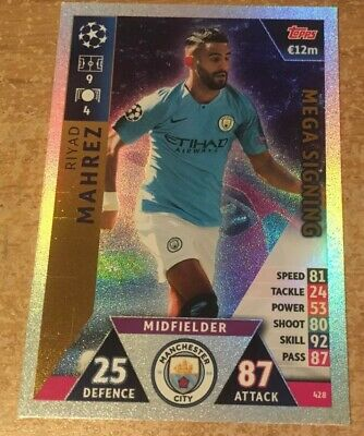match attax 2018/2019 18 19 Champions League Riyad Mahrez Mega Signing card