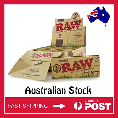 Raw Organic Hemp Artesano King Size Slim Rolling Papers w/ Tips and Tray