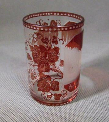 Antique 19th century Bohemian Engraved Ruby Glass Tumbler Baden Spa