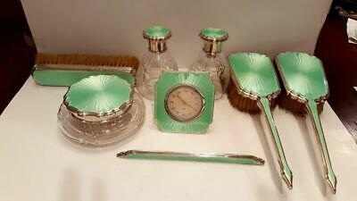 8 pc. Sterling Silver Grooming Set w/ Running Clock, Perfume Bottles, Powder Jar