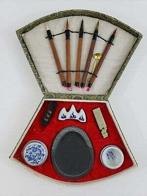 Chinese Calligraphy Brush Painting Sumi Fan Shaped Box Set Ink NEW OLD STOCK