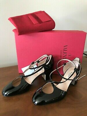 0ab65b374c Valentino Black Patent Leather Tango Ankle Strap Pumps Shoe 36 Sandals 6