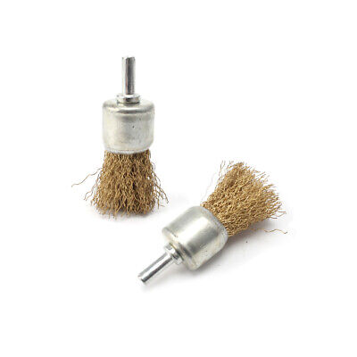 """2Pcs 1""""Copper Plated Steel Wire Brush Cup Wheel Shank 6mm For Metal Polishing"""