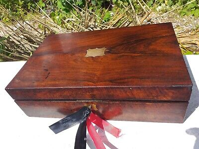 Antique  Rosewood  Writing slope With Working Lock &key &2  Glass Inkwells