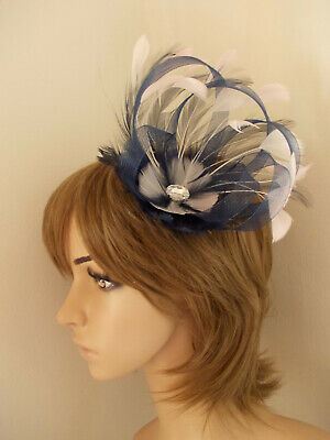 New Navy Blue and Pale Pink Loop fascinator feathers diamante hair clip/brooch
