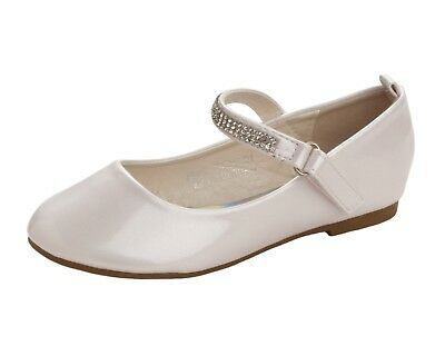 GIRLS WHITE PEARLS SKATER PUMPS WEDDING COMMUNION SHOES TRAINERS UK SIZE 10-2