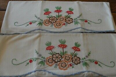 Vintage Pair Blue Red Orange Green Flowers Garland Embroidered Pillowcases-NICE!