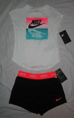 NWT Girls NIKE T-shirt & Athletic Shorts Summer Outfit - size 6X