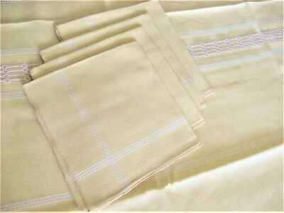 """Pale Yellow Linen Embroidered Tablecloth (49"""" x 48""""), 4 napkins (17"""" x 16 1/2"""")"""