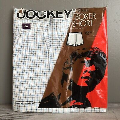 VTG 70s Deadstock Jockey Boxer Shorts Knit Cotton Size 36 Blue Black Window Pane