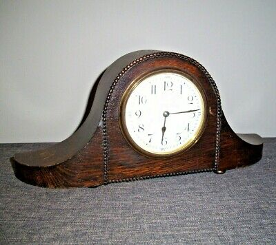 Antique 1930's Oak Napoleon's Hat Mantel Clock with Winding Mechanism (with Key)